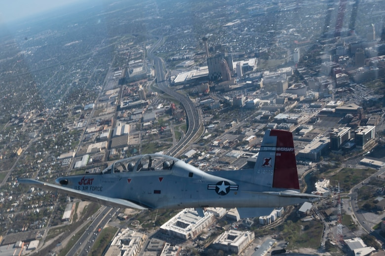 The 434th Flying Training Squadron flagship flies cross-country from Laughlin Air Force Base, Texas, Mar. 20. 2021. The 434th FTS flagship is a symbol of the squadron spirit, and this flagship was painted to commemorate the P-51 Mustang from World War II, flown by Robin Olds.(U.S. Air Force photo by Airman 1st Class David Phaff)