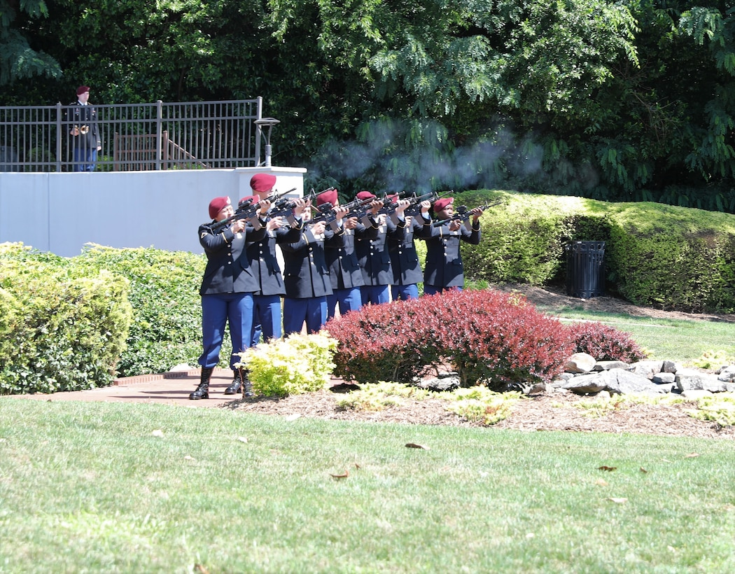 Soldiers from the 27th Engineer Battalion (Combat)(Airborne), 20th Engineer Brigade, perform a 21-gun salute during the 2021 Fayetteville, N.C., Memorial Day Ceremony to honor America's fallen military service members, May 31, 2021, at Freedom Memorial Park.