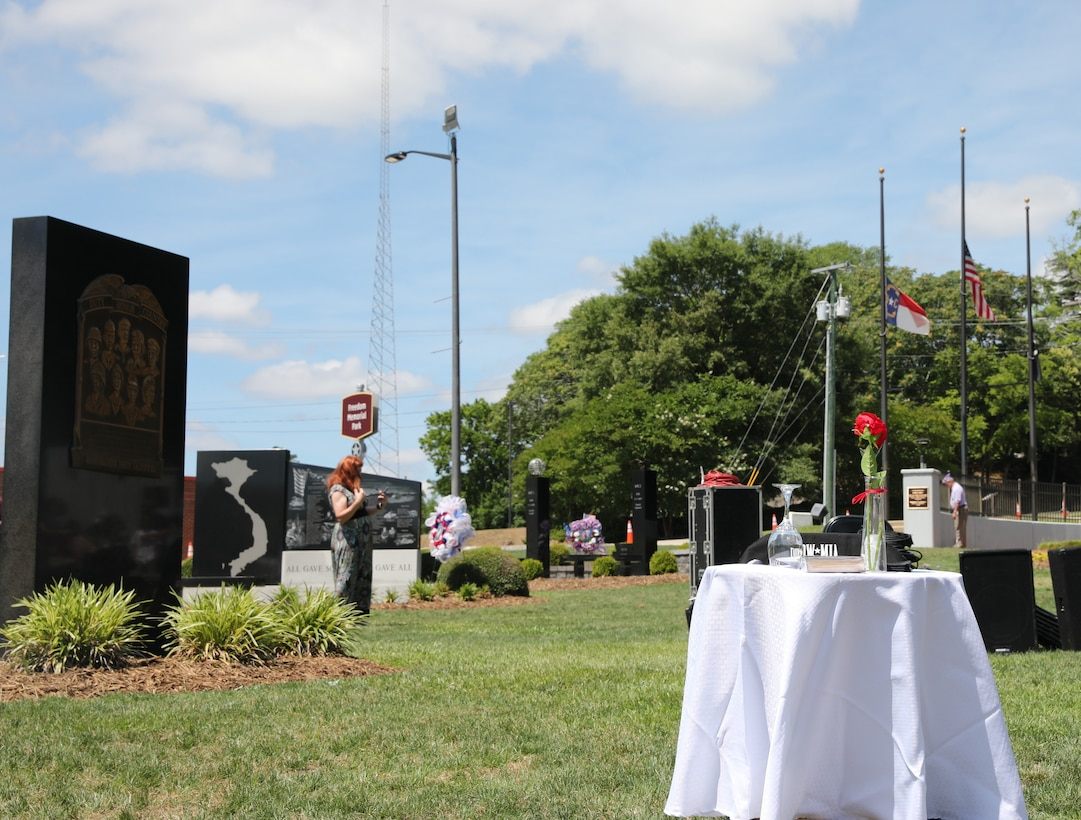 The Fallen Soldier Table at the 2021 Fayetteville, N.C., Memorial Day Ceremony to honor America's fallen military service members, May 31, 2021, at Freedom Memorial Park
