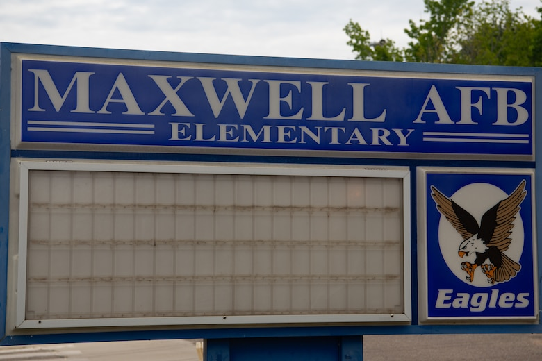 The school marquee outside of Maxwell Elementary/Middle School on Maxwell Air Force Base, Alabama.