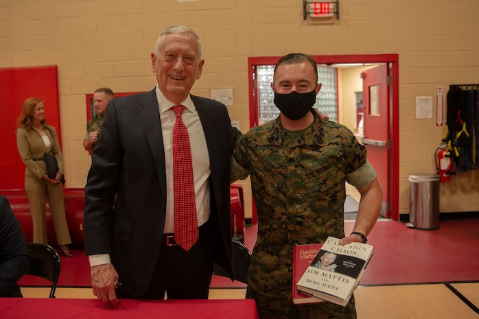 Retired U.S. Marine Corps General and former Secretary of Defense James Mattis visits Headquarters and Service Battalion, Fleet Marine Force Atlantic, U.S. Marine Corps Forces Command