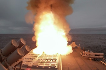 USS Ross (DDG 71) fires a Standard Missile 2 (SM-2) in the North Sea as part of exercise At-Sea Demo/Formidable Shield.