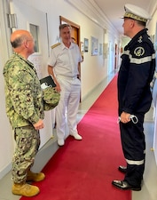 TOULON (June 3, 2021) - Chief of Naval Operations (CNO) Adm. Mike Gilday meets with U.K. First Sea Lord and Chief of the Naval Staff Adm. Tony Radakin, and Chief of the French Navy Adm. Pierre Vandier for a trilateral maritime discussion. The three heads of Navy met in France to sign a trilateral joint statement reaffirming their commitment to deeper co-operation and interoperability around the globe to meet the challenges of tomorrow and maintain a strategic advantage at sea. (U.S. Navy photo by Cmdr. Nate Christensen/Released)