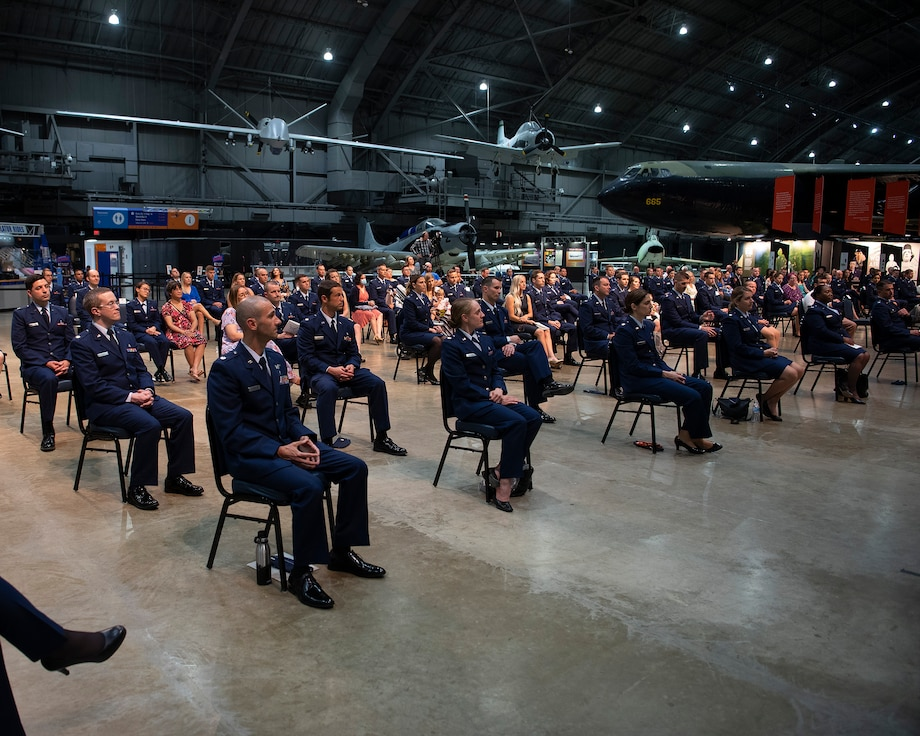 Graduates, program directors and a few select guests listen to Lt. Gen. Dorothy Hogg, U.S. Air Force surgeon general, give the graduation address at the Wright-Patterson Medical and Allied Health Education Programs graduation ceremony May 27, 2021, in the National Museum of the U.S. Air Force. More than 70 Air Force officers are recognized for completing their medical residencies in local hospitals including the Wright-Patterson Air Force Base, Ohio, Medical Center and the Dayton Veterans Affairs Medical Center. (U.S. Air Force photo by R.J. Oriez)
