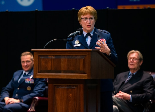 Air Force Lt. Gen. Dorothy Hogg, Air Force surgeon general, gives the graduation address at the Wright-Patterson Medical and Allied Health Education Programs graduation ceremony May 27, 2021, in the National Museum of the U.S. Air Force as Col. Christian Lyons, 88th Medical Group commander, and Albert Painter, dean of the Wright State University Boonshoft School of Medicine, looks on. More than 70 Air Force officers were recognized for completing their medical residencies in local hospitals including the Wright-Patterson Air Force Base, Ohio, Medical Center and the Dayton Veterans Affairs Medical Center. (U.S. Air Force photo by R.J. Oriez)