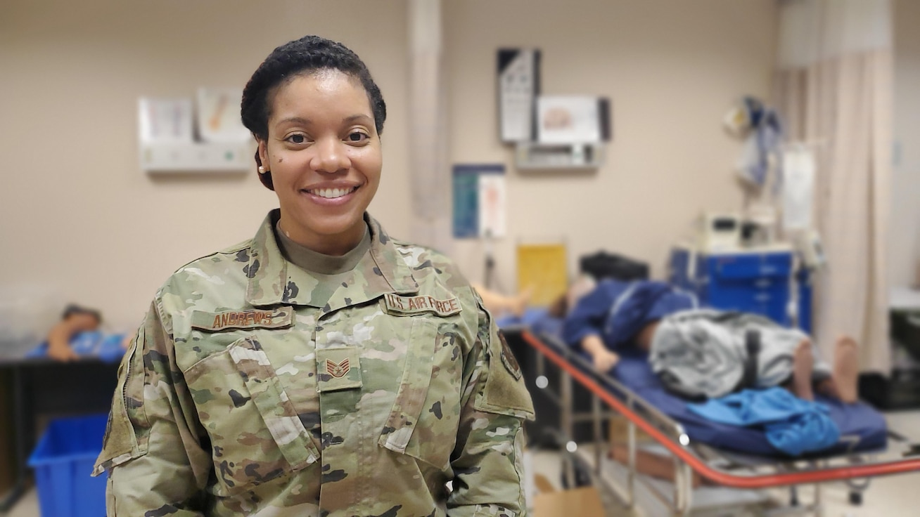 U.S. Air Force Citizen Airman, Staff Sgt. Ashley Andrews, 932nd Medical Squadron, mental health technician poses for a portrait in the MDS medical skills lab, June 2, 2021, Scott Air Force Base, Illinois. (U.S. Air Force photo by Christopher Parr)
