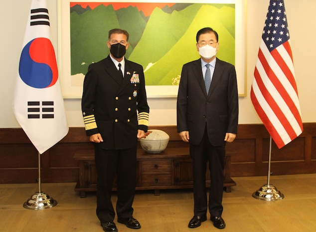 The commander for U.S. Indo-Pacific Command, Adm. John C. Aquilino, traveled to the Republic of Korea as part of his first overseas trip to meet with senior government officials and reaffirm the United States' commitment to the security of the Republic of Korea.