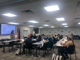 507th Air Refueling Wing key spouses gather to learn about the wing mission, resources and programs to help serve the Okie community May 15, 2021, at Tinker Air Force Base, Oklahoma. (U.S. Air Force courtesy photo)