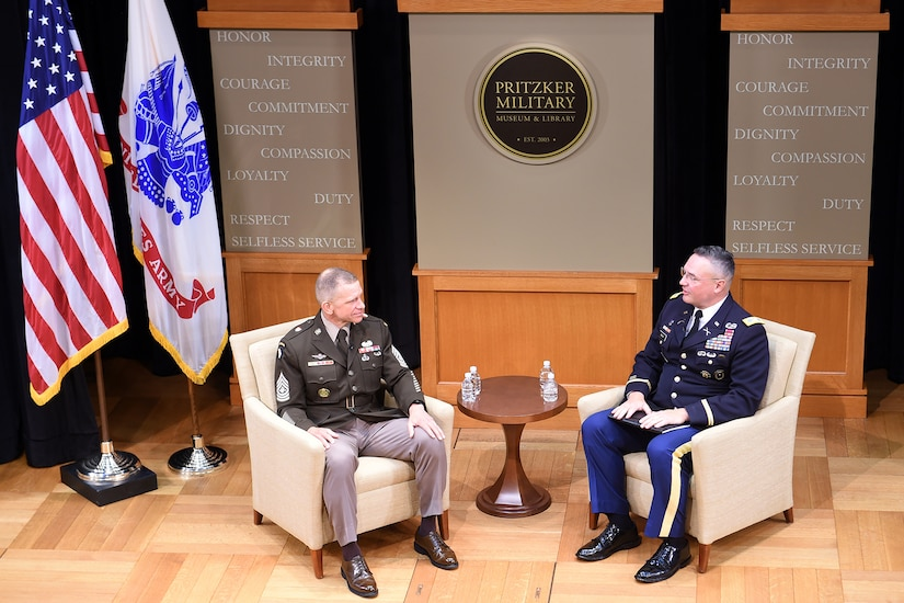 Sgt. Maj. Of the Army, Michael A. Grinston (left) participates in a recorded interview at the Pritzker Military Museum & Library in in Chicago, followed by a question and answers session, May 28, 2021.