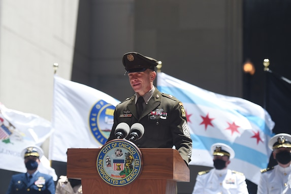 Sgt. Maj. of the Army, Michael A. Grinston, delivers remarks, as the keynote speaker during the City of Chicago's Memorial Day commemoration, May 29, 2021.
