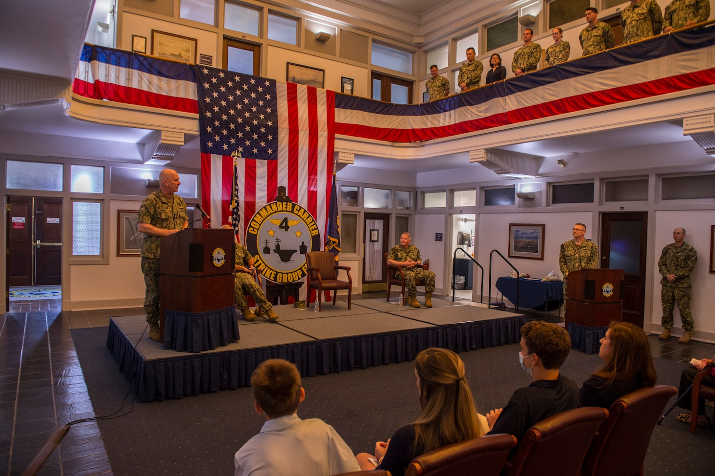 ADM Grady gives remarks at CSG-4 Change of Command.