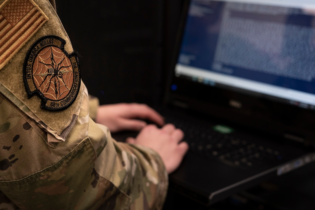 An Airman assigned to the 48th Communications Squadron works in the server room at Royal Air Force Lakenheath, England, May 25, 2021. The 48th CS is responsible for the maintenance and care of millions of dollars worth of communications assets providing superior computer, data and voice capabilities to Royal Air Force Lakenheath and RAF Feltwell. (U.S. Air Force photo by Senior Airman Jessi Monte)