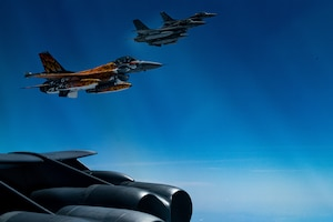 Portuguese F-16's supporting the B-52