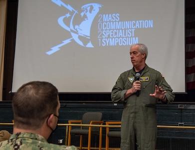 Rear Adm. John F. Meier, commander, Naval Air Force Atlantic (CNAL), speaks at the 2021 Mass Communication Specialist Symposium.
