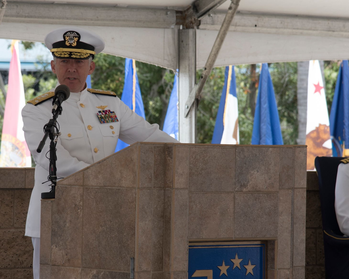 Vice Adm. Scott D. Conn, commander, U.S. 3rd Fleet, delivers remarks during a change of command ceremony on Naval Base Point Loma, June 3. Vice Adm.