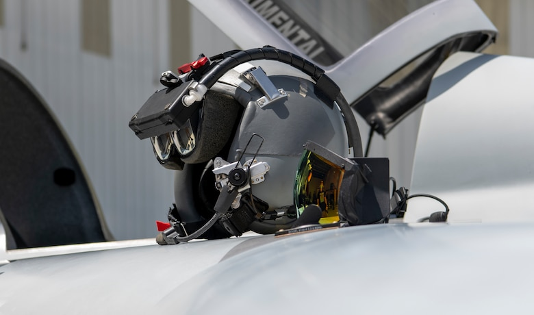 The augmented reality headset is displayed on the wing of a Berkut in Santa Monica, Calif., April 14, 2021.