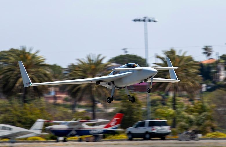 A Berkut takes off from the runway in Santa Monica, Calif., April 14, 2021.