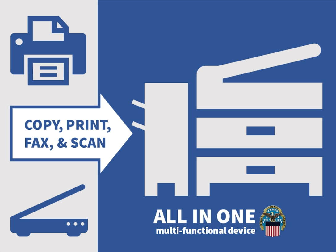 Graphic showing a device that scans, prints, fax and copies.