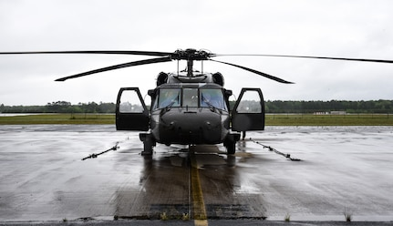 Virginia National Guard aviators participate in an air operations exercise managed by the Virginia Department of Emergency Management May 10, 2021, at the Army Aviation Support Facility in Sandston, Virginia. The exercise aimed to test a new smart phone-enabled mission-management platform for use during a large-scale emergency response, such as a hurricane.