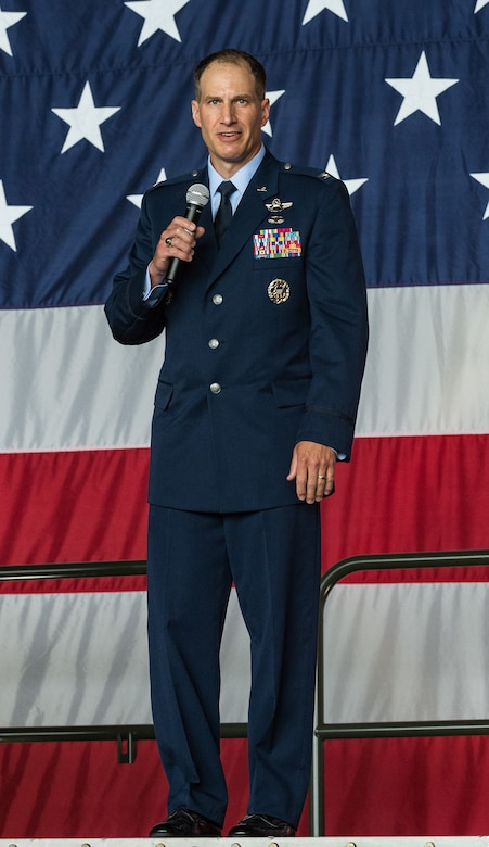 Col. Matthew Husemann, 436th Airlift Wing commander, speaks to Team Dover members, friends and family, guests, civic leaders and congressional delegates during the 436th AW Assumption of Command ceremony on Dover Air Force Base, Delaware, June 4, 2021. Husemann assumed command of the Eagle Wing, becoming Dover AFB's 36th wing commander. (U.S. Air Force photo by Roland Balik)