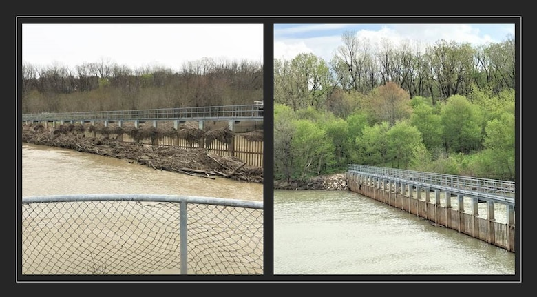 IN THE PHOTOS, (left) a photo of before the project was completed. (Right) An photo of the Refuge Lake trash rack after the Corps completed the project.