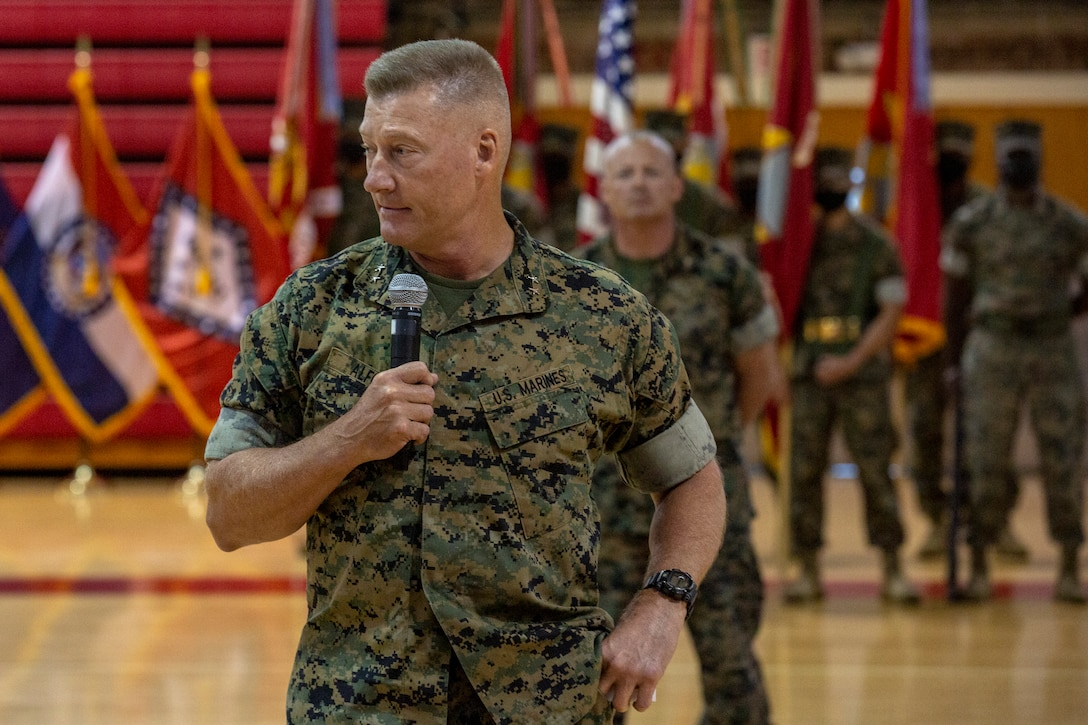 U.S. Marine Corps Maj. Gen. Julian D. Alford, outgoing commanding general, Marine Corps Installations East-Marine Corps Base Camp Lejeune, gives his remarks during the MCIEAST-MCB Camp Lejeune change of command ceremony on MCB Camp Lejeune, North Carolina, June 4, 2021. (U.S. Marine Corps photo by Lance Cpl. Isaiah Gomez)