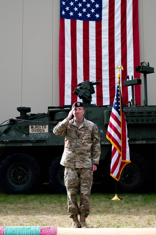 U.S. Air Force Lt. Col. Kyle Mattie, the 3rd Air Support Operations Squadron (ASOS) commander, renders the first squadron salute during a change of command ceremony at Fort Wainwright, Alaska, June 4, 2021.