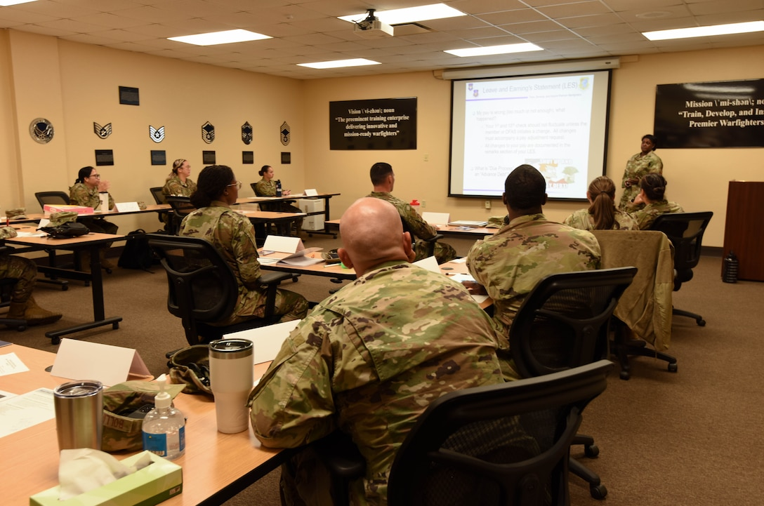 First term officers attend a First Term Officers Course at the Professional Development Center on Keesler Air Force Base, Mississippi, June 1, 2021. The FTOC is the first course of its kind implemented at Keesler to further develop new company grade officers into leaders. (U.S Air Force photo by Airman 1st Class Jasmine Galloway)