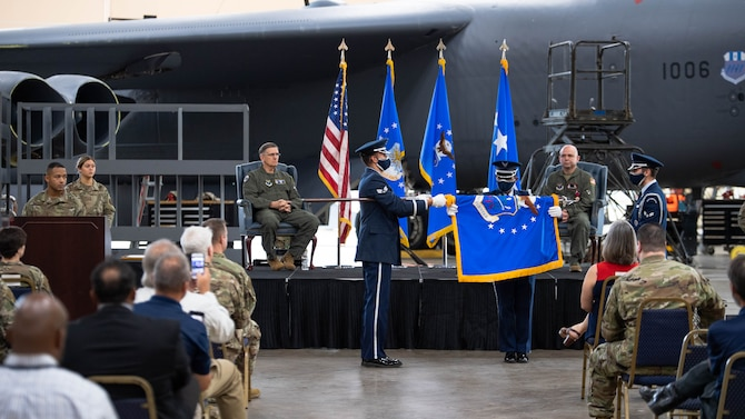 The official flag of the U.S. Air Force's Nuclear Command, Control and Communications Center is ceremoniously folded during the AFNC3 Center's deactivation ceremony at Barksdale Air Force Base, La., June 4, 2021. After making significant strides to normalize the way in which the Air Force handles nuclear command, control and communications systems, the AFNC3 Center was formally deactivated June 4.