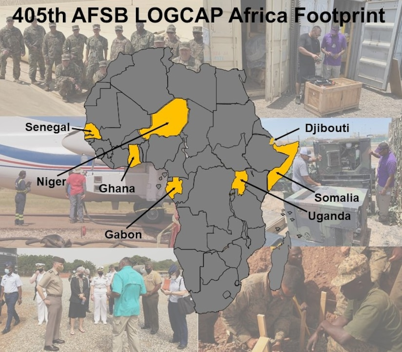 The 405th Army Field Support Brigade's Army Field Support Battalion-Africa provides one Logistics Civil Augmentation Program professional and one Strategic Planner to support Combine Joint Task Force-Horn of Africa's base operations support and manages active services and property in Djibouti, Somalia, Uganda, Niger and other locations in Western Africa.