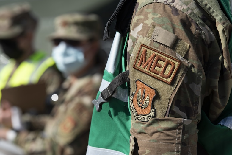 U.S. Airmen from the 52nd Medical Group, Spangdahlem Air Base, Germany, conduct training for the En Route Patient Staging System (ERPSS) during exercise Saber Guardian 21 at Baumholder, Germany, June 1, 2021. The multinational exercise is a U.S. Army Europe and Africa led initiative focused on interoperability with allies and NATO partners. (U.S. Air Force photo by Tech. Sgt. Tony Plyler)
