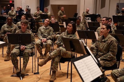 Chief Master Sergeant Bass listens to The U.S. Air Force Band.