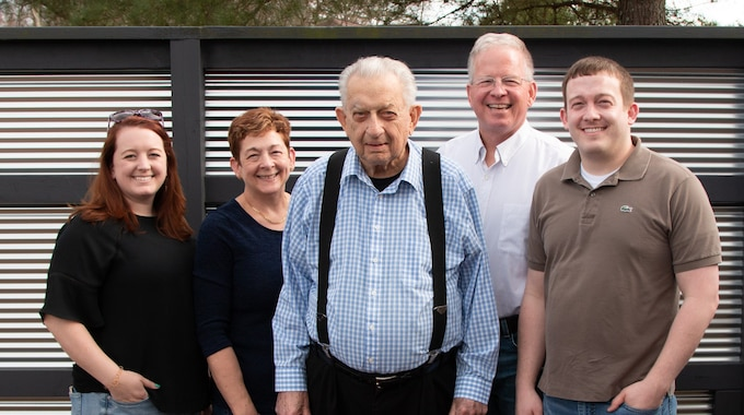 Three generations of the Garrard family have worked at Arnold Air Force Base, beginning with Jim Garrard, center, pictured here in March 2021, with his son, Doug, second from right; daughter-in-law, Angelia, second from left; granddaughter, Rachel; and grandson, Justin. Doug, Angelia, Justin and Rachel all currently work at Arnold Air Force Base. (Courtesy photo)