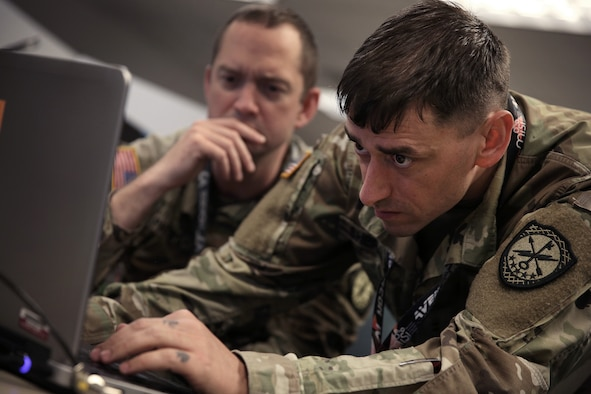 U.S. Cyber Command, Cyber National Mission Force members participate in a training and readiness exercise at Fort George G. Meade, Md., May 24, 2021.