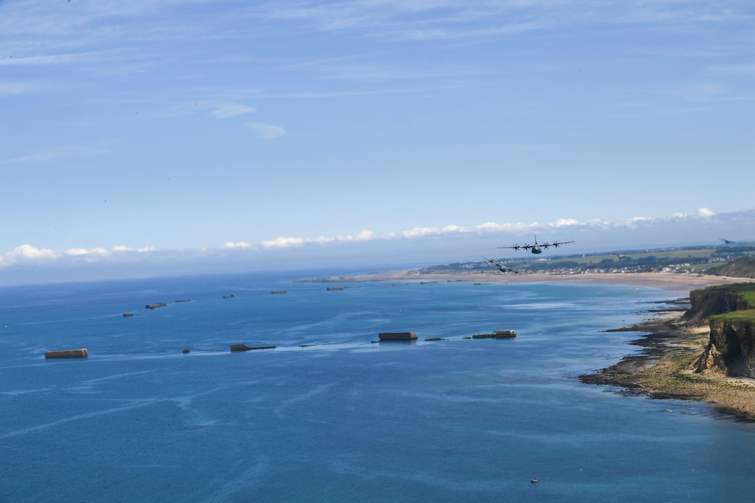Aircraft over Normandy, France.