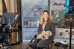 """Monica DeAngelis, a marine mammal biologist in the Environmental Branch of the Naval Undersea Warfare Center Division Newport's Corporate Operations Department, shoots a video, """"The Science of Seal Tracking"""" at New Bedford Whaling Museum in Massachusetts on Jan 29, 2021. The production company, 5:00 Films & Media, prepared videos as part of a Naval Horizons program to introduce high school students to cutting-edge science and technology topics that impact the U.S. Navy and Marine Corps."""