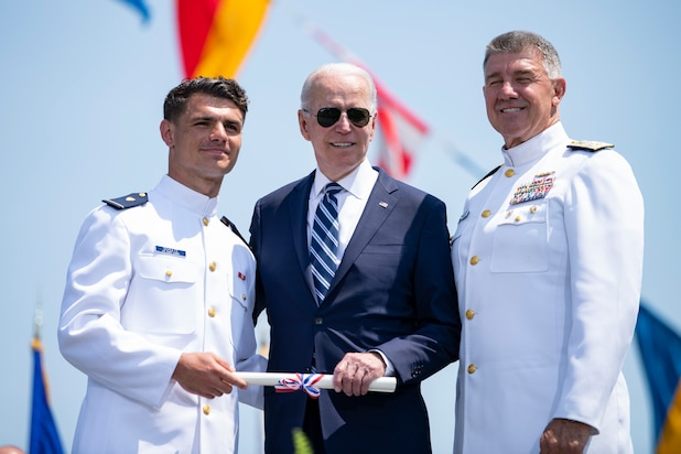 President Joseph R. Biden Jr. delivered the keynote address at the Coast Guard Academy during the 140th Commencement Exercises May 19, 2021. The Coast Guard Academy graduated 240 new officers along with seven international students. (U.S. Coast Guard photo by Petty Officer 3rd Class Matthew Thieme)