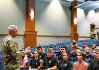 Maj. Gen. Todd Royar, the commander of the U.S. Army Aviation and Missile Command, along with AMCOM Command Sgt. Major Mike Dove, met 31 future Soldiers June 7, 2021, on Redstone Arsenal, Ala.