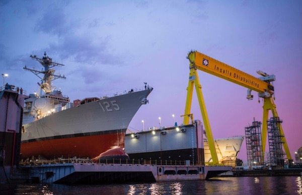 The future guided-missile destroyer Jack H. Lucas (DDG 125) is launched, June 4, 2021, at Huntington Ingalls Industries.