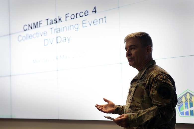 Maj. Gen. Joe Hartman. U.S. Cyber Command, Cyber National Mission Force commander, speaks about the importance of training and readiness at Fort George G. Meade, Md., May 24, 2021.