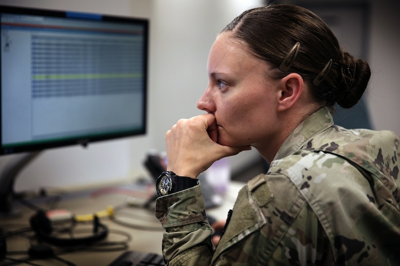 A U.S. Cyber Command, Cyber National Mission Force member participates in a training and readiness exercise at Fort George G. Meade, Md., May 24, 2021.