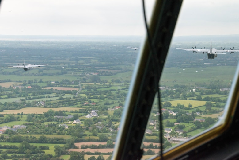 Planes fly over Normandy, France