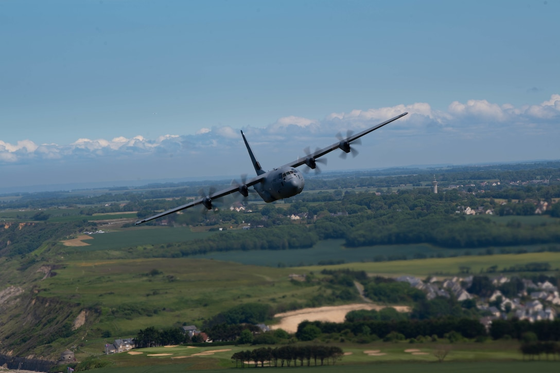 C-130J Super Hercules aircraft assigned to Ramstein Air Base, Germany, fly over France in remembrance of D-Day June 6, 2021.