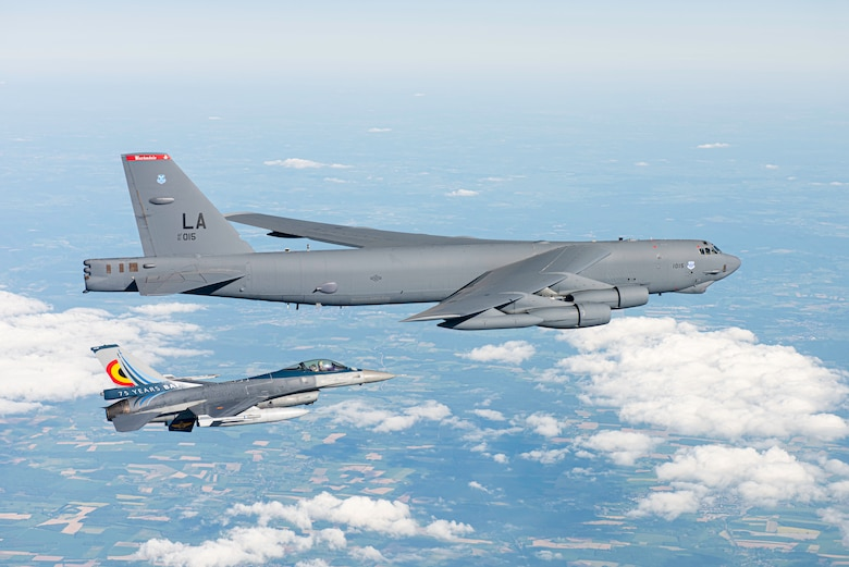 A B-52H Stratofortress operating out of Morón Air Base, Spain, is escorted by a Belgian air force F-16 Fighting Falcon during the Bomber Task Force Europe mission Allied Sky, May 31, 2021. The one-day mission highlighted U.S. commitment to the NATO alliance by flying over all 30 NATO member nations and integrating with aircraft from 20 allied nations. (Courtesy photo by the Belgian air force)