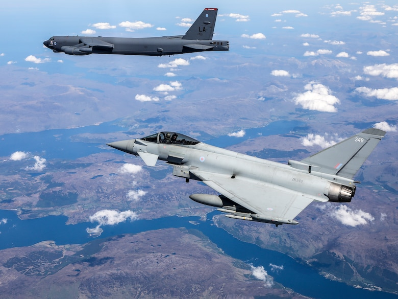 A B-52H Stratofortress operating out of Morón Air Base, Spain, is escorted by a Royal Air Force Eurofighter Typhoon during the Bomber Task Force Europe mission Allied Sky, May 31, 2021. Conducting operations with allies and partners in the European theater strengthens interoperability and relationships in the NATO alliance. (Courtesy photo by the Royal Air Force)
