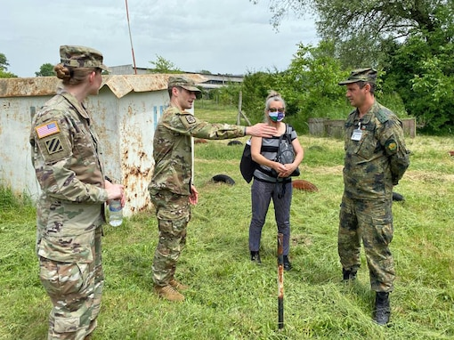 U.S. Army Reserve Staff Sgt. Christopher Branning, a team chief with the 773rd Civil Support Team, 7th Mission Support Command, provides chemical, biological, radiological, nuclear procedure suggestions to a Soldier from the Bulgarian Army's 38th CBRN Defence Battalion during a military-to-military exchange held in Sofia, Bulgaria, May 25-28, 2021. The event was designed to enhance relationships and interoperability with Allies and partner nations. (U.S. Army Reserve photo by Staff Sgt. Rosannie Murillo, 773rd CST)