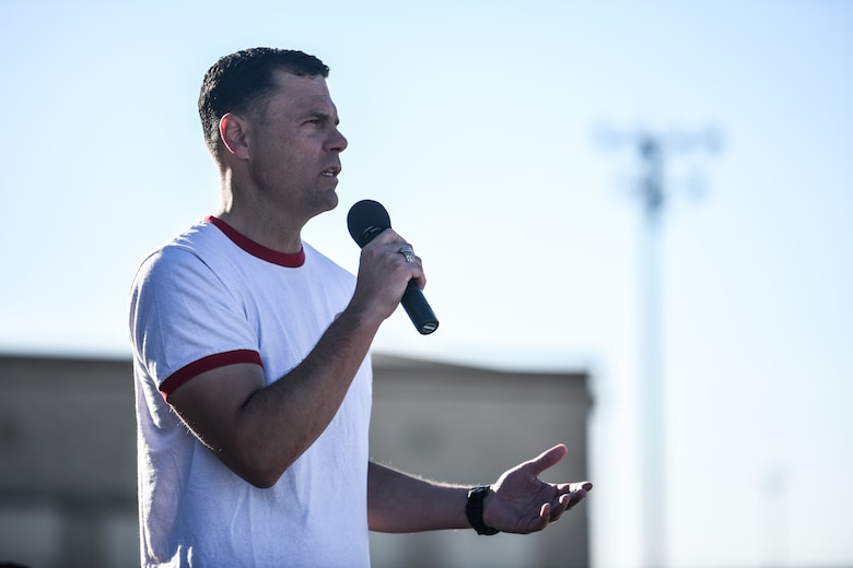 Col. Thad Middleton, 22nd Operations Group commander, gives an opening statement before the first annual Run-the-Runway event June 4, 2021, at McConnell Air Force Base, Kansas. The purpose of the event was to increase morale through fitness. (U.S. Air Force photo by Senior Airman Alan Ricker)
