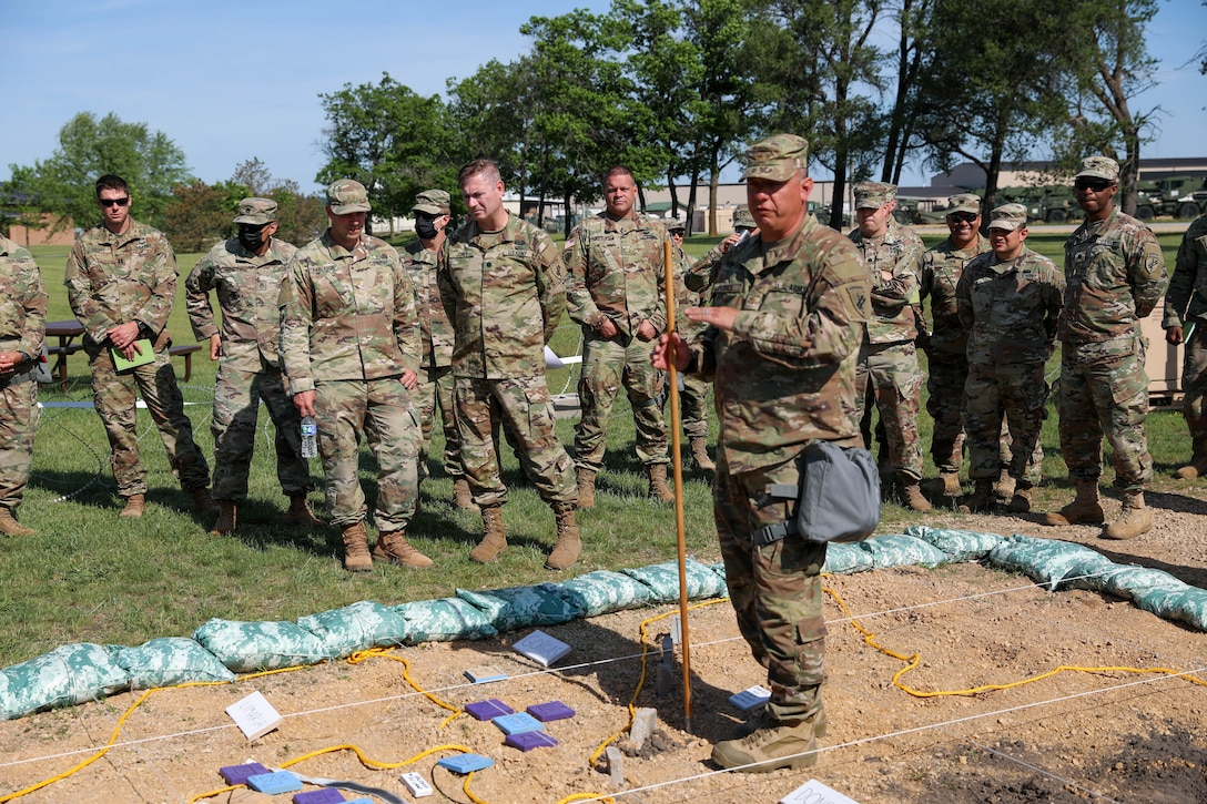 U.S. Army Reserve Maj. Richard Flores, 358th Civil Affairs Brigade, prepares to brief the Rehearsal of Concept drill for the Command Post Exercise – Functional (CPX-F) 21-02, June 5, 2021, at Ft. McCoy, Wis. The CPX-F is designed to bring together different skill sets from across the command and have them work together toward a common goal in support of the U.S. Army Reserve mission as a globally responsive force.