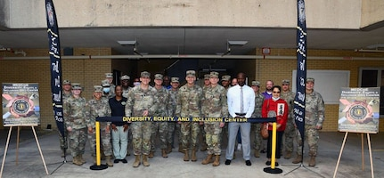 A photo of group at ribbon cutting ceremony.