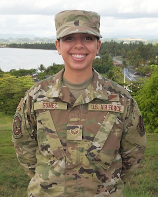 U.S. Air Force Senior Airman Amanda Gomez, an airborne missions systems operator with the 156th Operations Group, Puerto Rico Air National Guard, poses for a picture at Punta Salinas Air National Guard Station, Puerto Rico, June 3, 2021. (U.S. Air National Guard photo by Staff Sgt. Eliezer Soto)